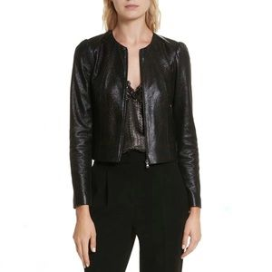 NWT Rebecca Taylor Black Metallic Leather Jacket